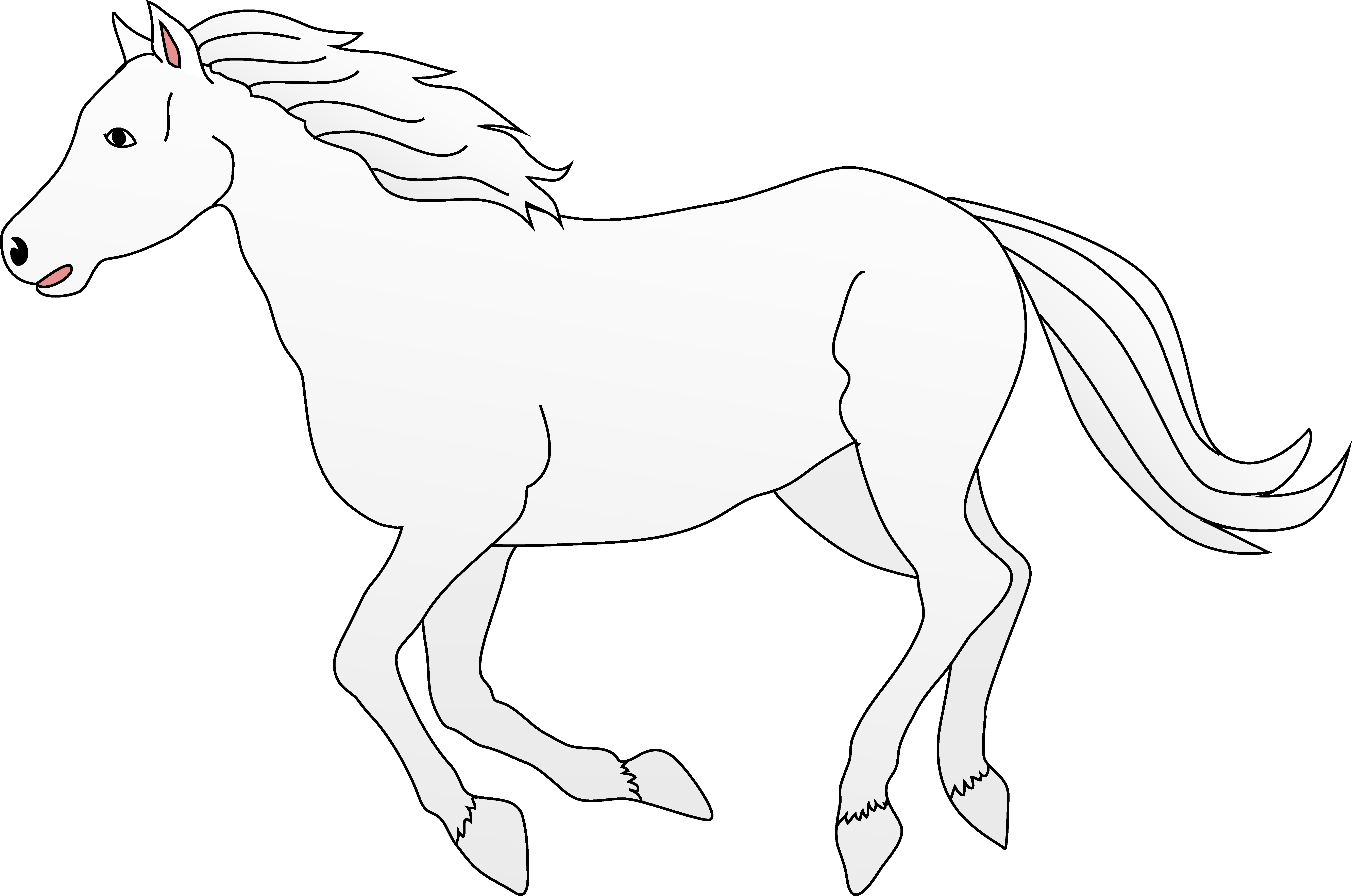 White Horse Galloping Clip Art.
