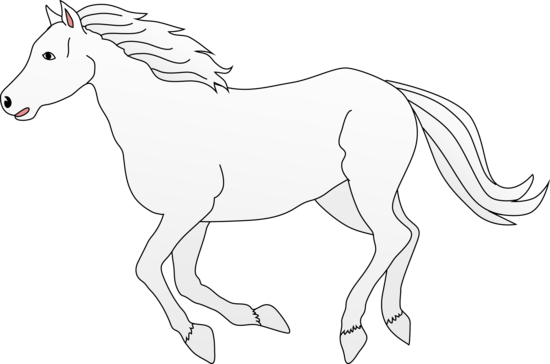 Free black and white horse clip art.