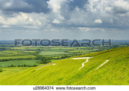 Stock Photo of England, Oxfordshire, Uffington, View over the Vale.