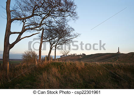 Stock Image of Ancient chalk white horse in landscape at Cherhill.