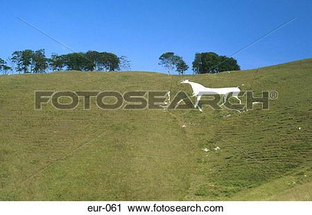 Stock Photography of Oldbury White Horse Hill England Britain eur.
