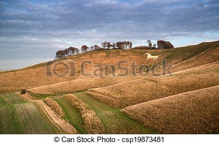 Pictures of Beauitful landscape of ancient chalk white horse in.