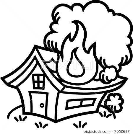 fire! Burning house monochrome.