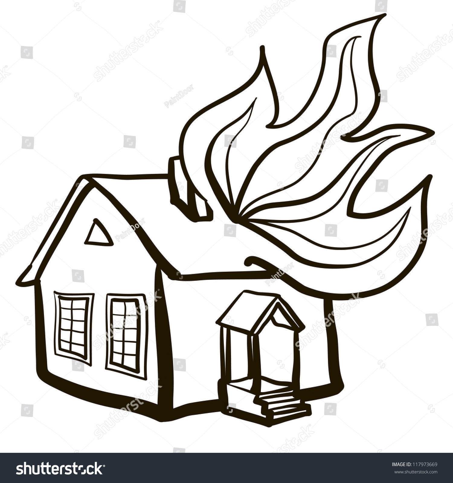 Burning House Clipart Black And White.