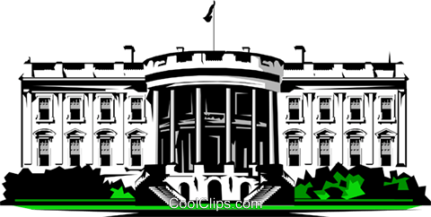 White House Royalty Free Vector Clip Art illustration.