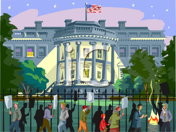 Clipart Picture of Protesters in Front of the White House.