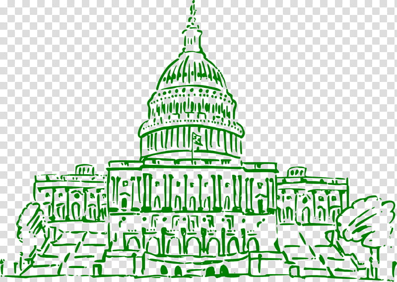 Christmas Tree Line Drawing, United States Capitol, White.