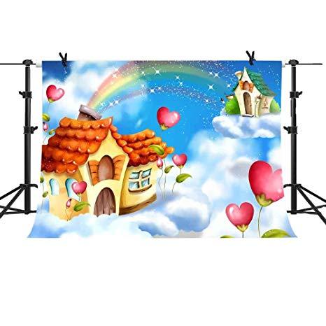 Amazon.com : MME 10x7Ft White Cloud Rainbow Cartoon House.