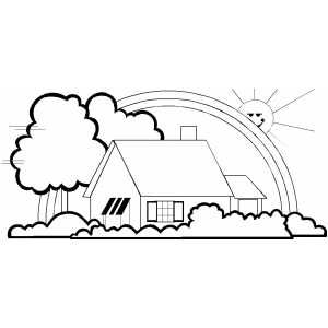 House And Rainbow Coloring Page.