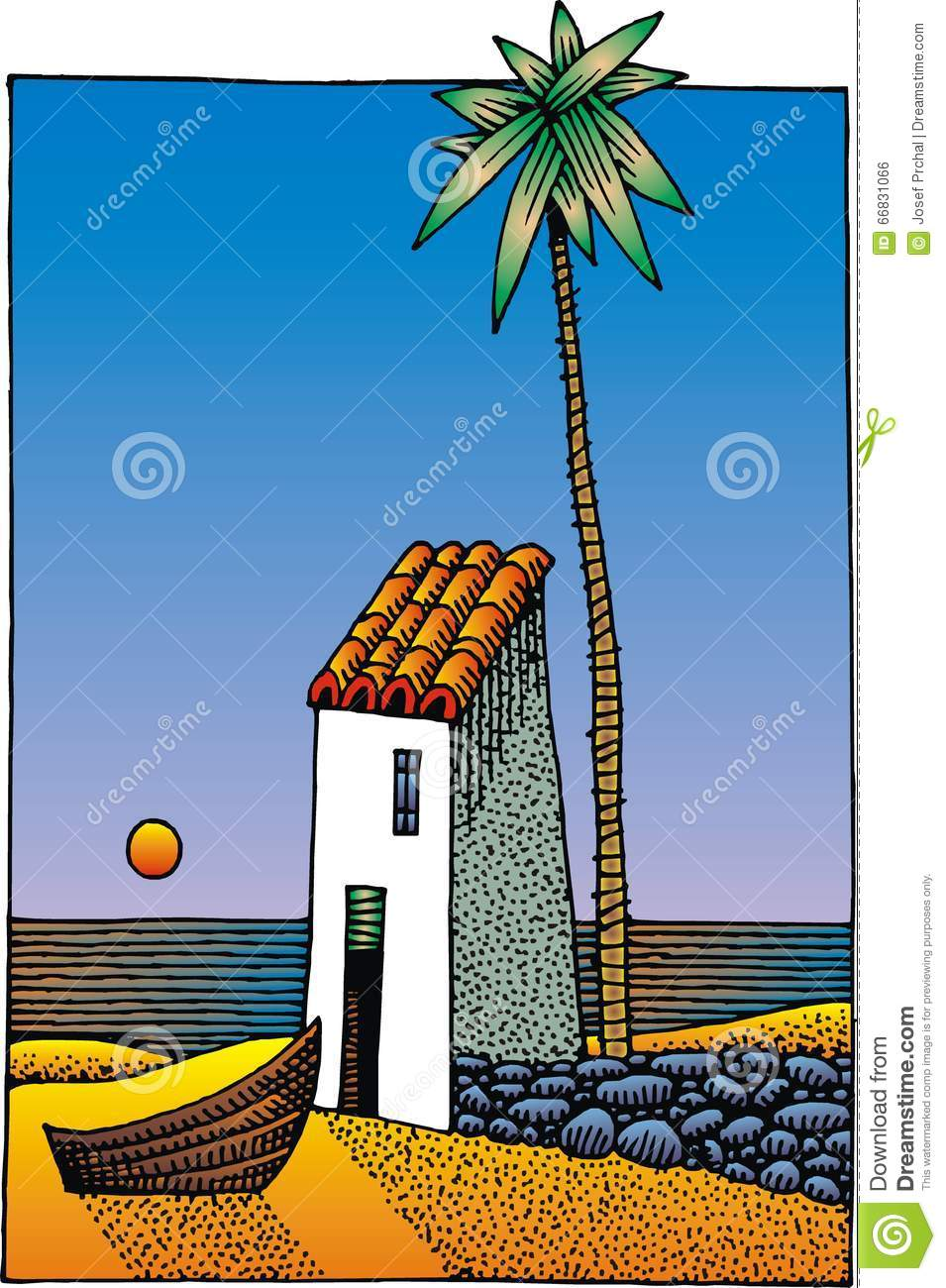 Small White House On The Beach Stock Vector.