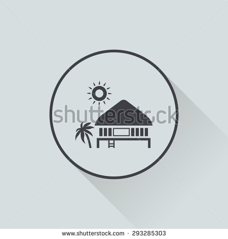 Black And White Beach House Clipart.