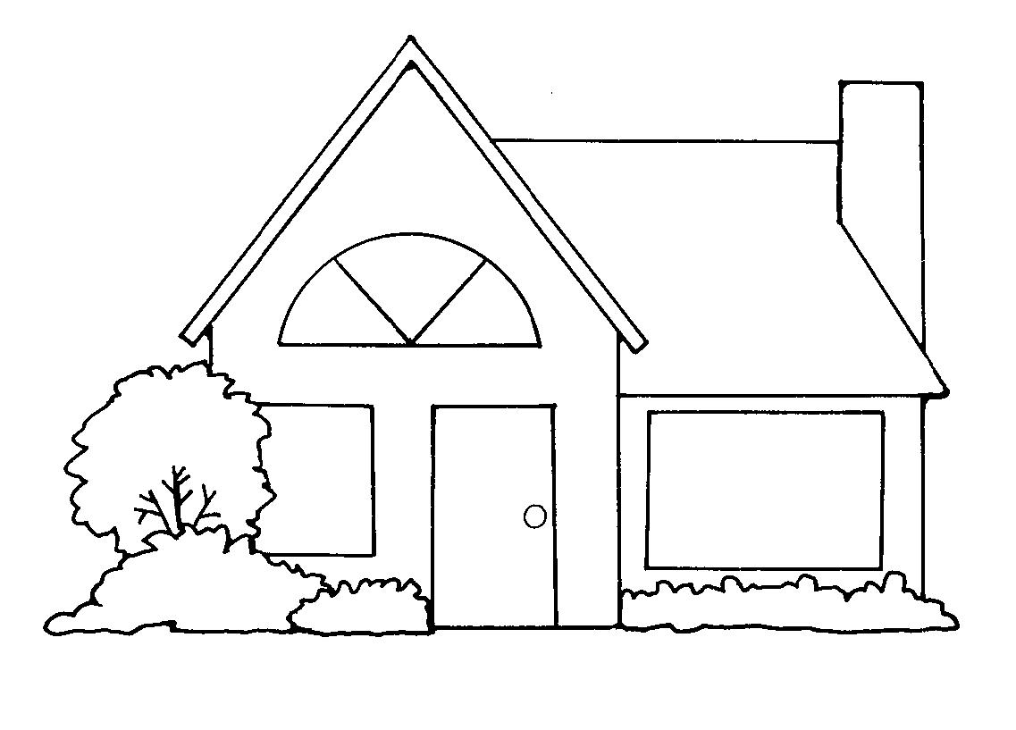 Clipart of houses black and white.