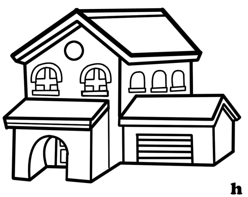 Clipart houses black white outline.