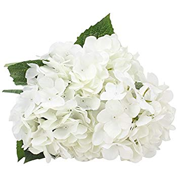 Duovlo Artificial Silk Hydrangea Flower with 6 Heads Flower Bunch Bouquet  Home Wedding Garden Floral Decor (White).