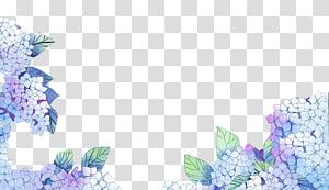 S, purple hydrangeas border illustration transparent.