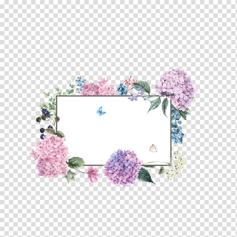 White board with flowers, French hydrangea Flower, Bouquet.