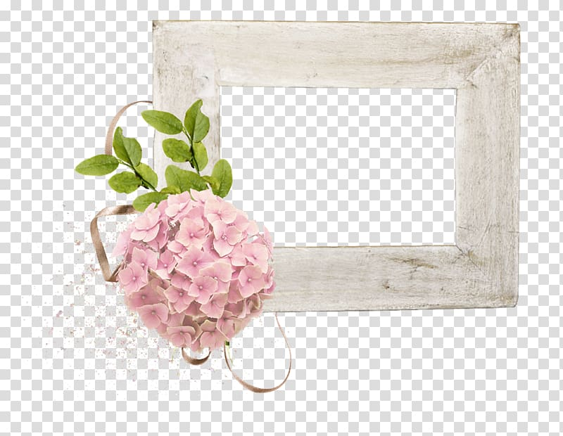 Rectangular white frame with pink hydrangeas illustration.