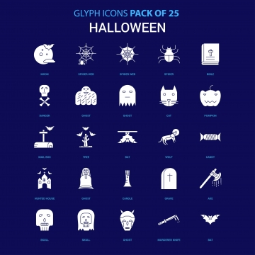 Halloween White Icon Over Blue Background 25 Icon Pack, Bloody Knife.