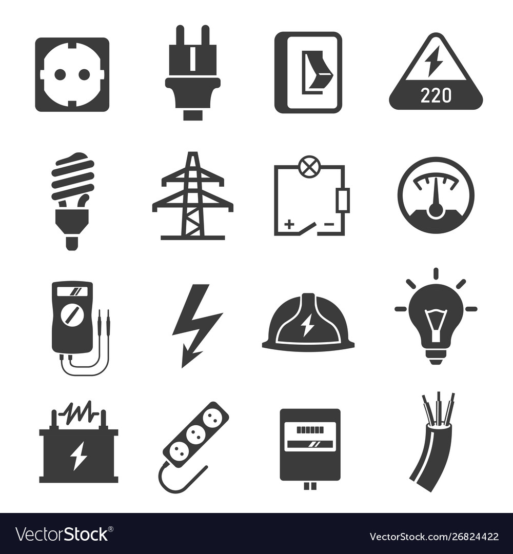 Electricity black and white isolated icons set.