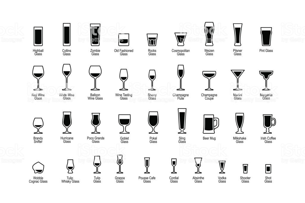 Drink glasses with titles, black and white icons set.