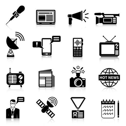 Media Black White Icons Set.