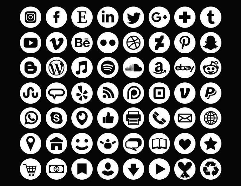 White Social Media Icons Set.