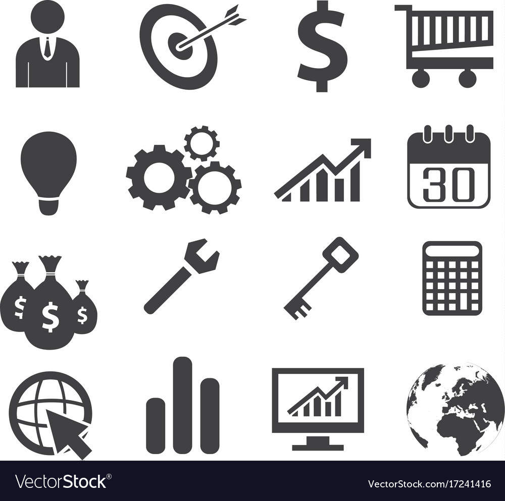 Black white business concept icons.