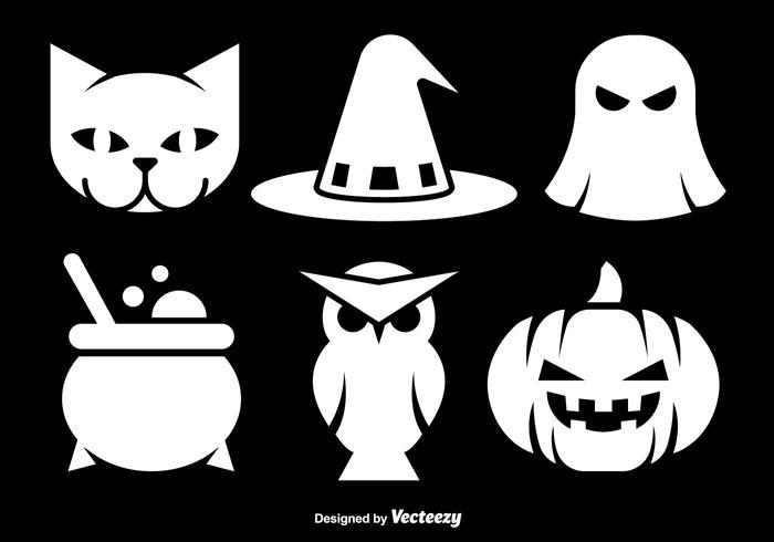Halloween white icons.
