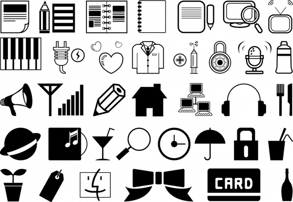 User interface icons collection black white classical design.