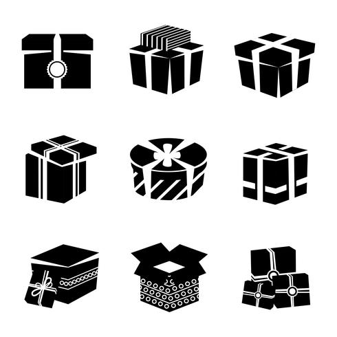 Gift box black and white icons set.