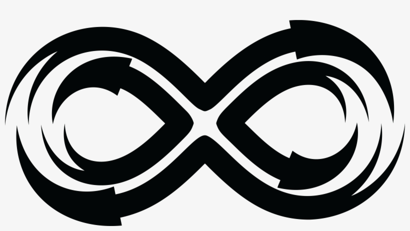 Free Clipart Of A Black And White Arrow Infinity Symbol.