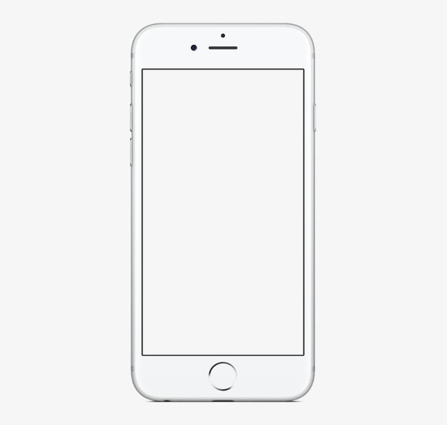Pretty White Phone Iphone6, Phone Clipart, White, Blank.