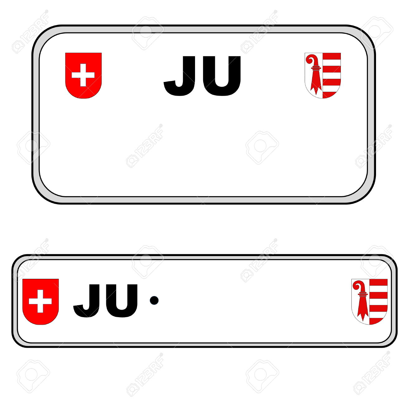 Jura Front And Back Plate Numbers, Switzerland, In White.