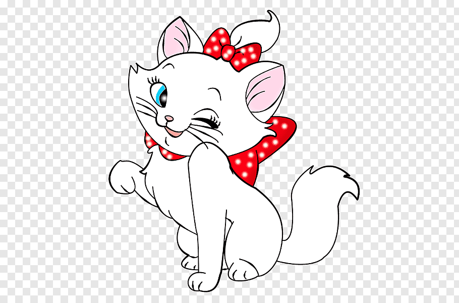 White cat with red ribbon illustration, Kitten Cat Cartoon.
