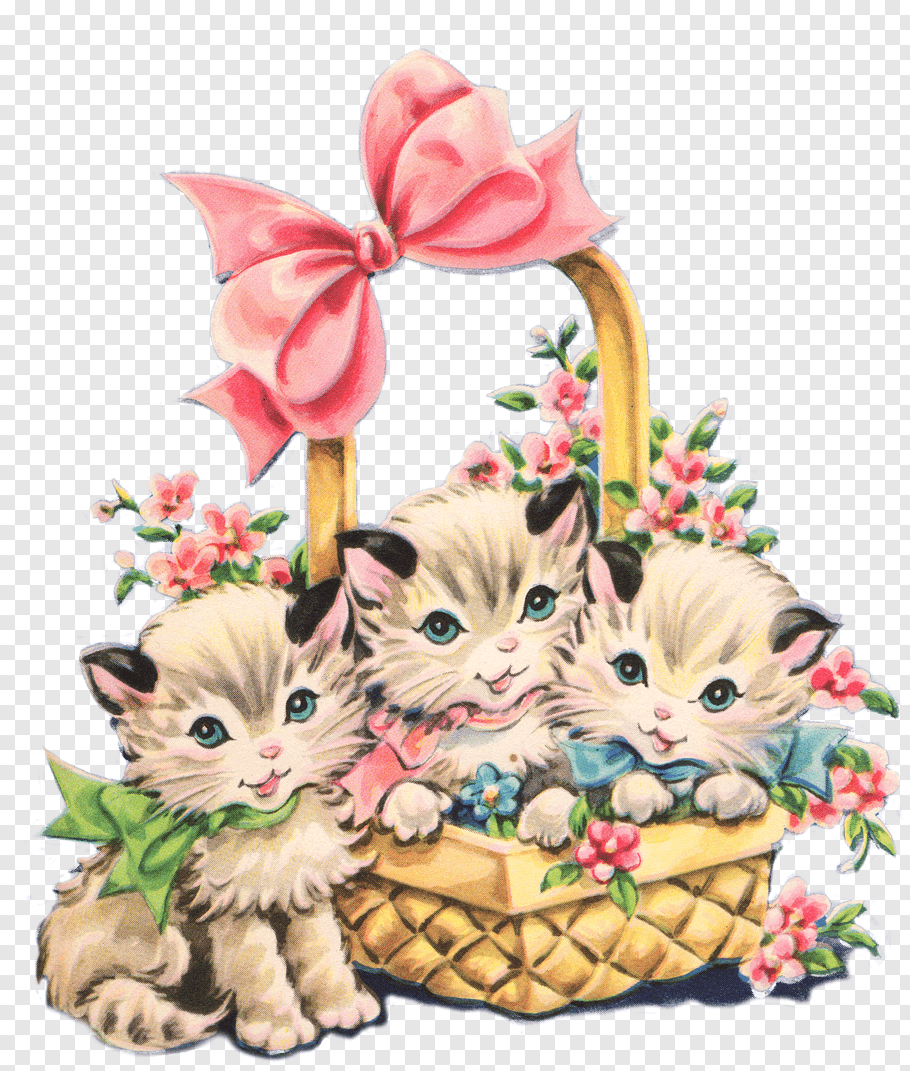Three white kittens on basket, Kitten Cat, January Cat s.