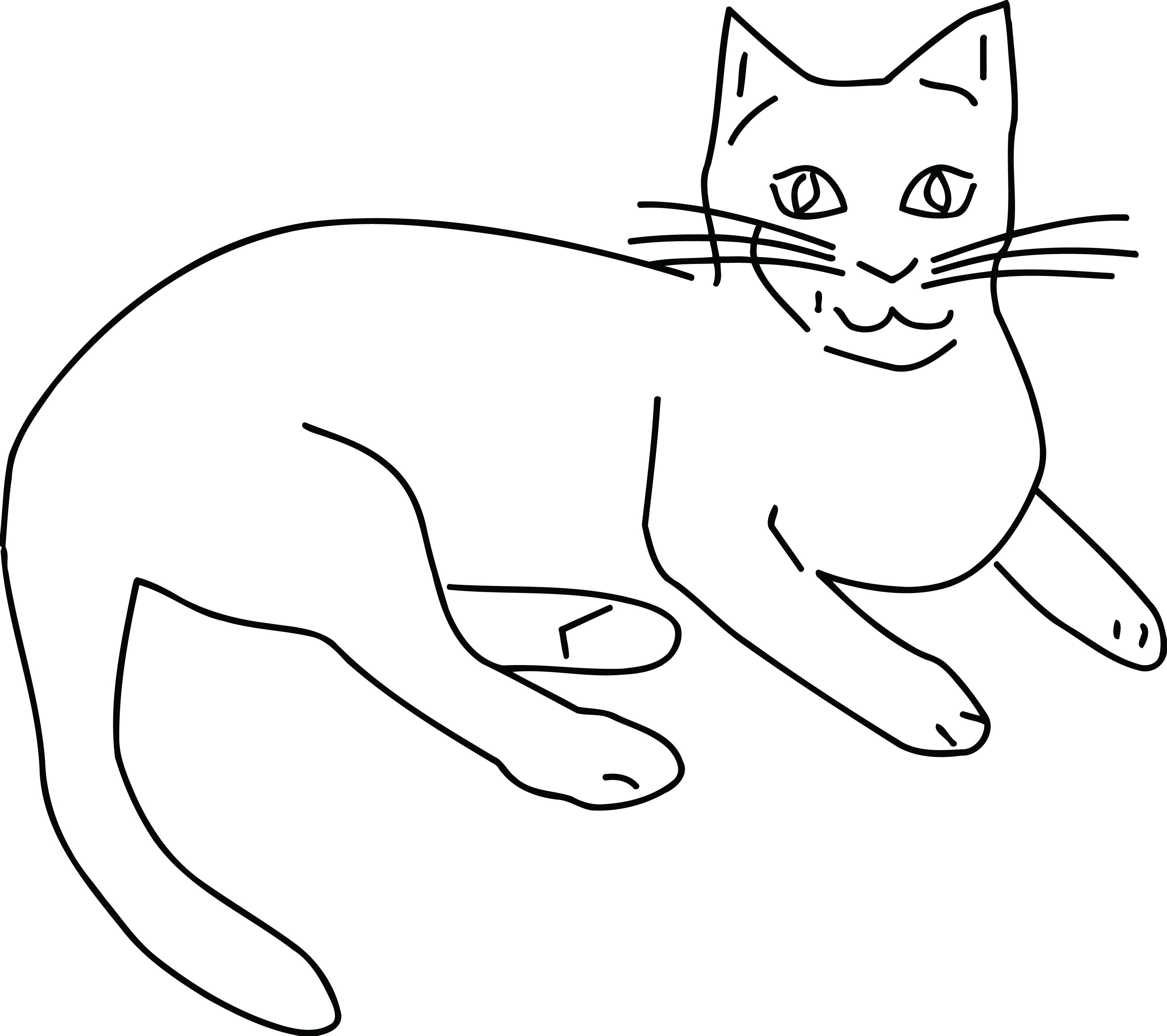 Kitty Clipart Black and White.