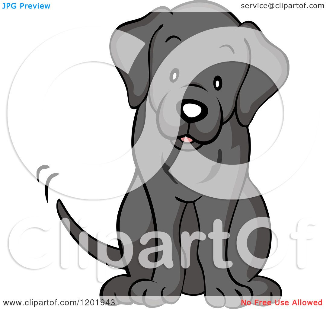 Cartoon of a Cute Black Labrador Dog Sitting and Wagging His.