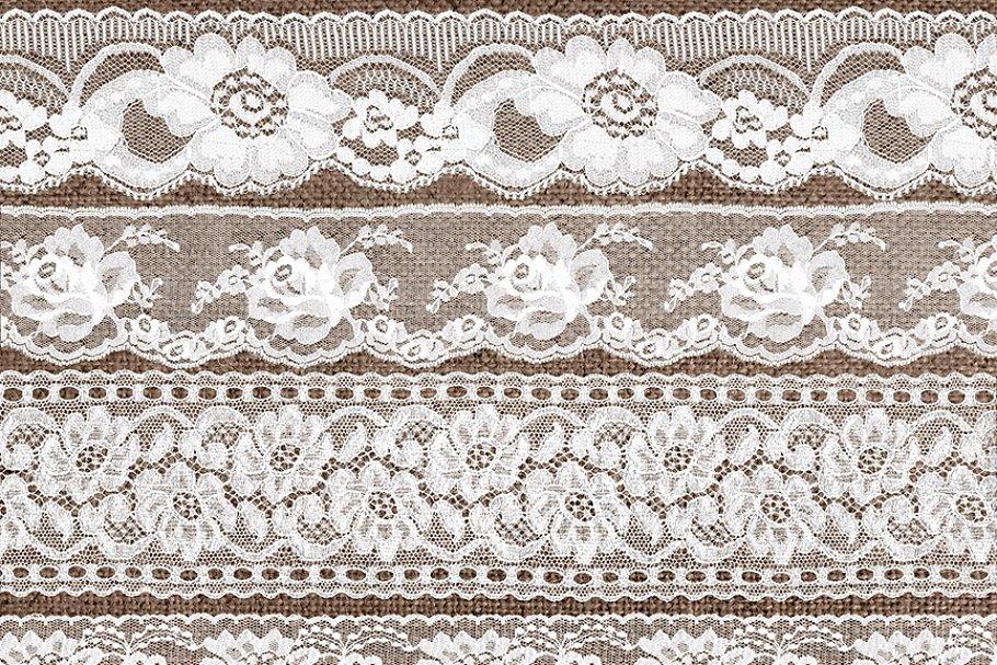 Vintage White Lace Borders Clipart.