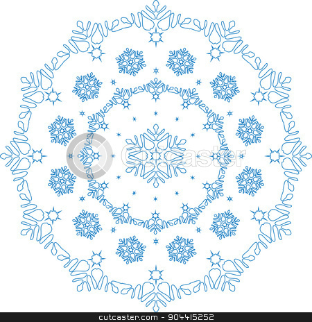 Lace in the form of slight and simple snowflakes.Frosty white ball.