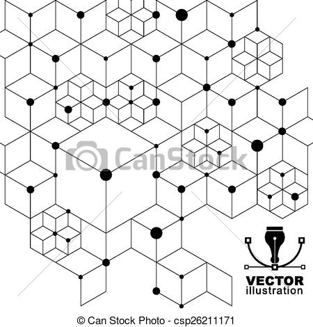 Vectors Illustration of 3d spatial lattice covering, black and.