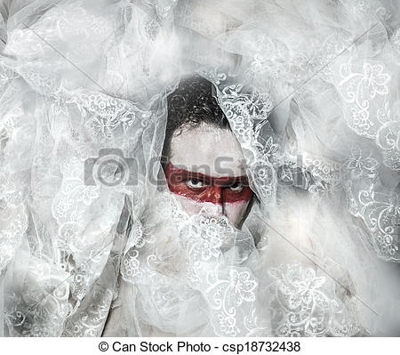 Stock Photos of Mystery, covered with white lace veil, red makeup.