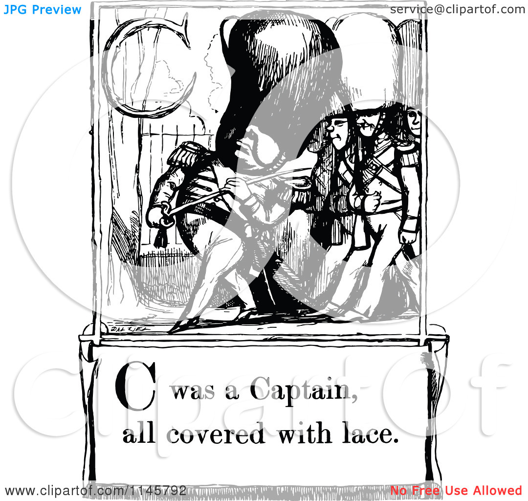 Clipart of a Retro Vintage Black and White Letter Page with C Was.