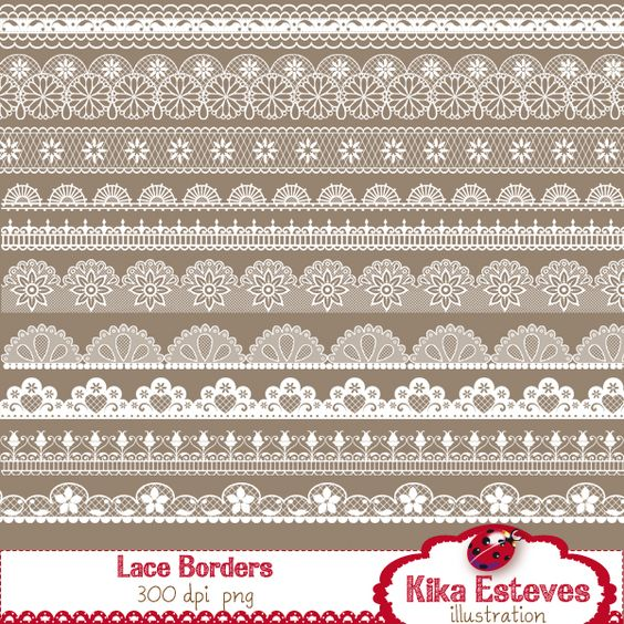 20 lace borders High Resolution 300dpi PNGs (transparent.