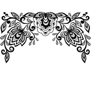 Black and white lace flowers and leaves isolated o vector by.