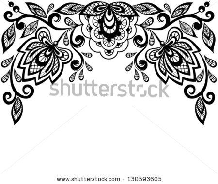 Black and white lace flowers and leaves isolated on white.