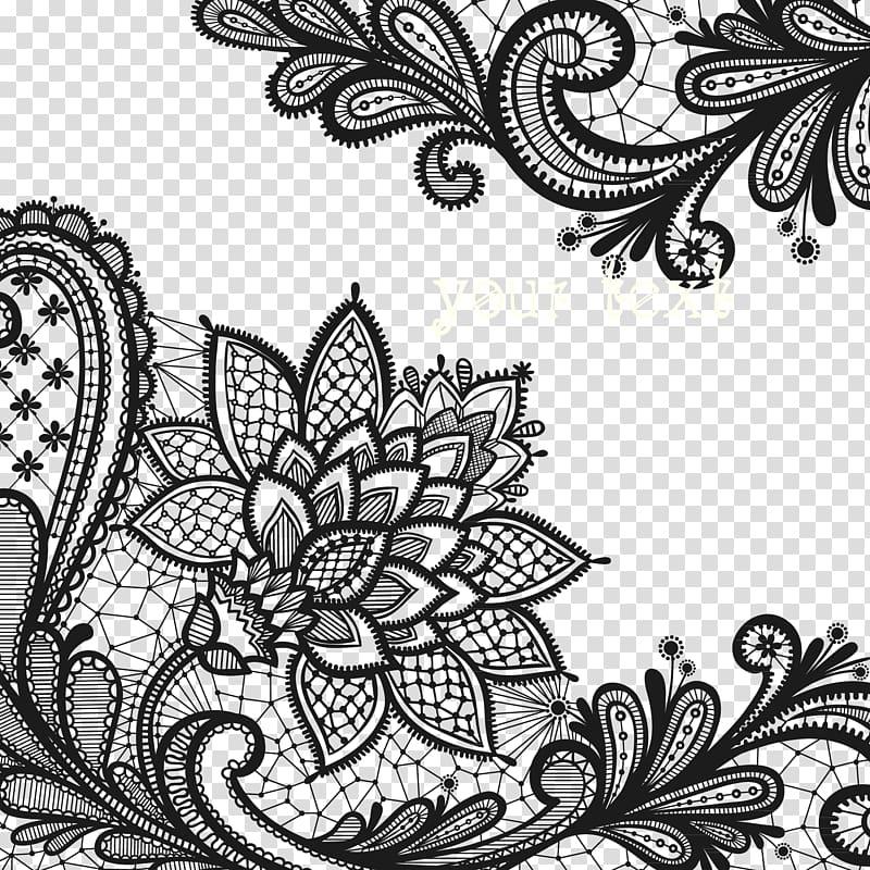 Black floral borders, Lace flowers transparent background.