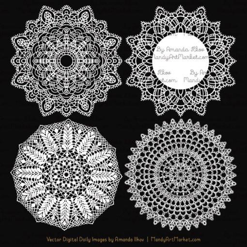 White Round Lace Doily Vectors.