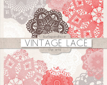 Clipart Doily Clip art, teal, brown, beige, white, lace.