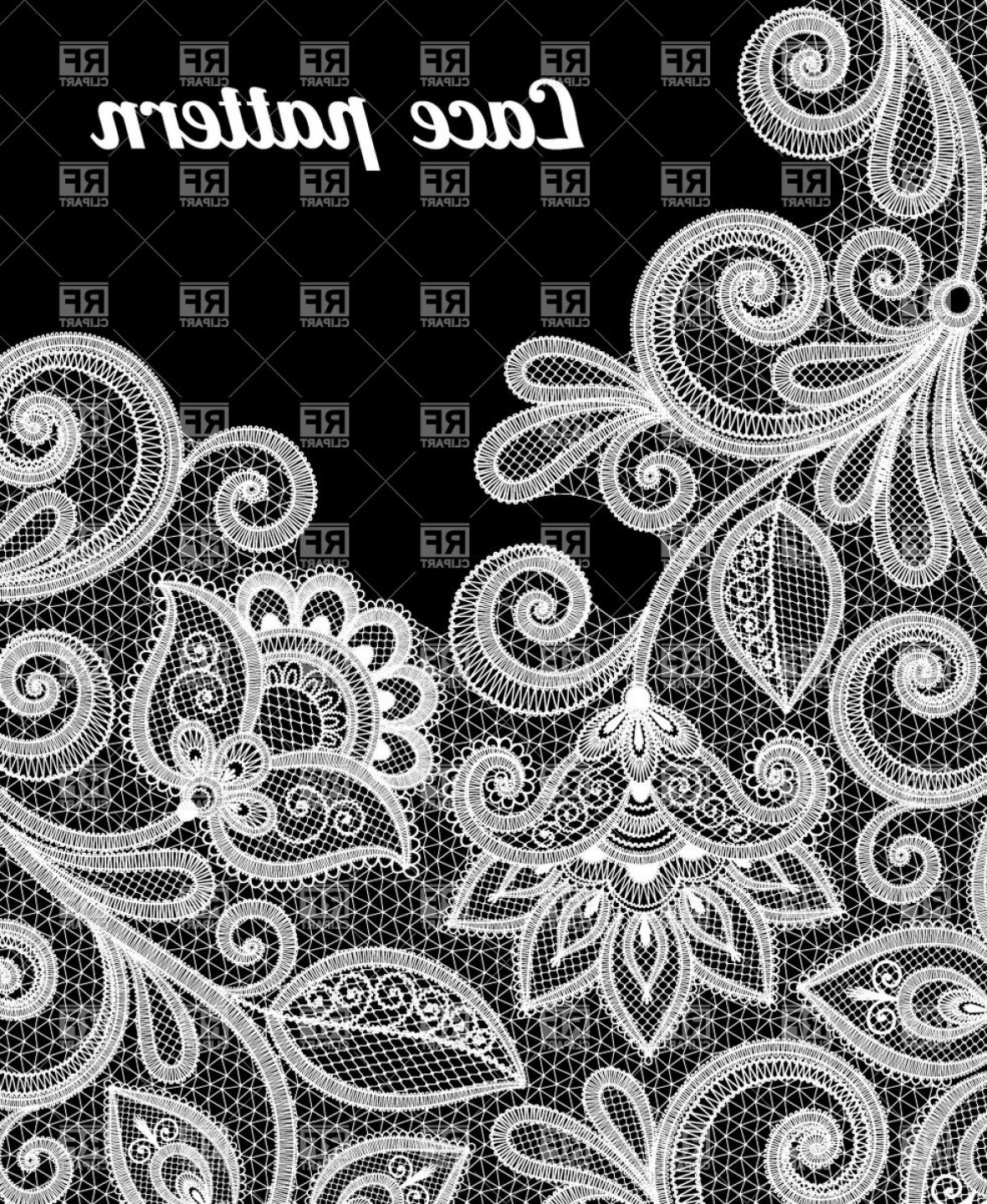 Floral Lace Pattern In White Color Vector Clipart.