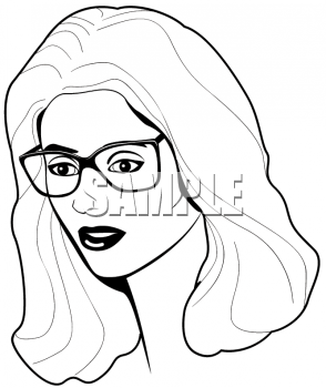 Black and White Image of Pretty Woman Wearing Glasses.